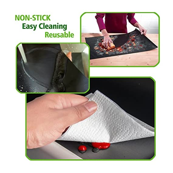 """CHERAINTI Grill Mat Oven Liner 70""""x16"""" Non-Stick Reusable Barbecue BBQ Mat, Cut to Any Size, for Gas Grill, Charcoal, Electric Grill, Electric Oven, Heat Resistant 3 SMOOTH 100% NON-STICK, EASY TO CLEAN: Thanks to the non-stick teflon material. You can simply rinse with warm water to rid all leftover foods, spills or dried on liquids. You can wipe over with a damp cloth and lay flat on the top rack of your dishwasher for easy cleaning. You will be happy to know that your grill mat 