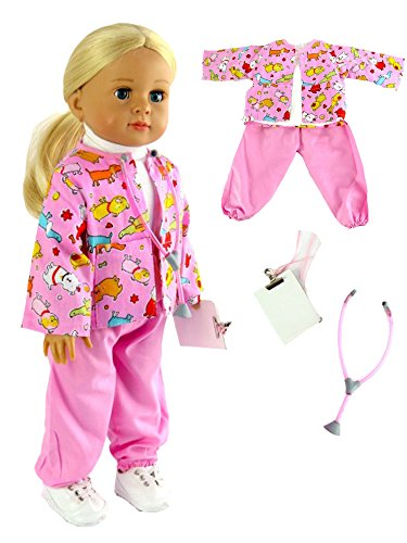 Pink Vet Outfit with Stethoscope and Clipboard | Fits 18'' American Girl Dolls, Madame Alexander, Our Generation, etc. | 18 Inch Doll Clothes by American Fashion World