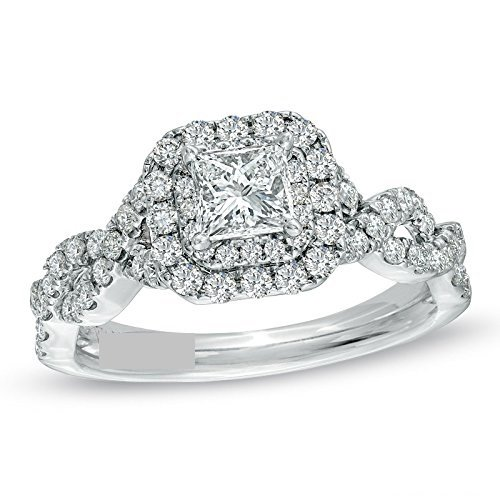 LOVE 1 CT. T.W. Princess & Round cut Diamond Double Frame Twist Engagement Wedding Ring in 14K White Gold in All sizes Available -