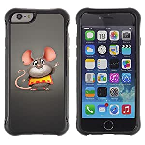 All-Round híbrido Heavy Duty de goma duro caso cubierta protectora Accesorio Generación-II BY RAYDREAMMM - Apple iPhone 6 - Mouse Big Ears Rodent Cartoon Character Cute