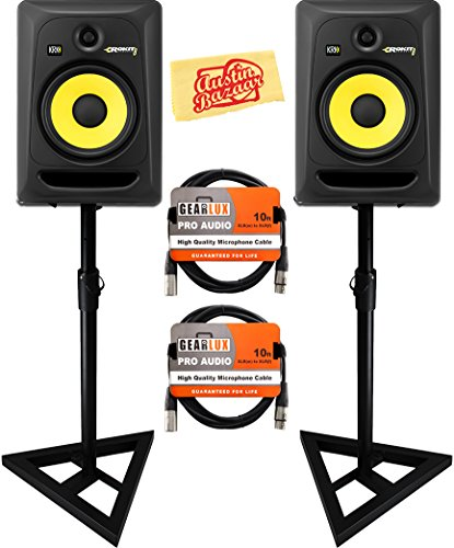 KRK Rokit 8 G3 Studio Monitor Speaker Bundle with Two Monitors, Stands, XLR Cables, and Austin Bazaar Polishing Cloth
