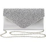 Gabrine Womens Evening Bag Handbag Clutch Purse Rhinestone-Studded Flap for Wedding Party Prom(Silver)