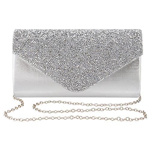 Gabrine Womens Evening Bag Handbag Clutch Purse Rhinestone-Studded Flap for Wedding Party Prom(Silver)