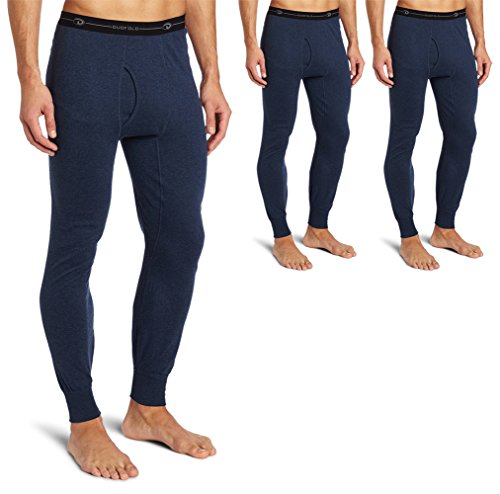 Duofold KMO3 Men's Mid Weight Double Layer Thermal Pant Large Blue Jean - 3 Pack