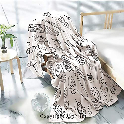 AngelSept Printed Throw Blanket Smooth and Soft Blanket,Coloring Page with Sweets Halloween for Sofa Chair Bed Office Travelling Camping,Kid Baby,W31.5 x -