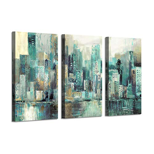 Abstract Cityscape Artwork Landscape Picture: Blue City Skyline Reflections Painting Print Multi-Piece Image on Gallery Wrapped Canvas for Arts Decor ()