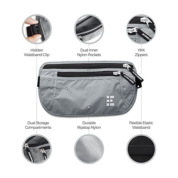 Zero Grid Money Belt w/RFID Blocking - Concealed Travel Wallet & Passport Holder 5 PROTECTS YOUR VALUABLES & IDENTITY - A money belt for travel for men and women. This belt wallet for travel conceals cash, credit cards & other valuables from pickpockets. Built in RFID Blocking safeguards your passport and credit cards and personal information inside the wallet belt against identity theft. BONUS GIFT - 7 RFID Blocking Sleeves for your ultimate peace of mind (6 Credit Card & 1 Passport) - For use ONLY when your passport or credit cards aren't inside the money belt. DESIGNED FOR SAFE INTERNATIONAL TRAVEL - Invaluable for crowded marketplaces, airports, an airplane, buses, trains, sporting events and music festivals. A thin travel belt and passport wallet for women and men that is virtually invisible to thieves, feel secure in any environment. Wear under your clothes for pickpocket proof protection. COMFORTABLE & FULLY ADJUSTABLE - Constructed from ultra-lightweight, water-resistant 210D Ripstop Nylon. Breathable, moisture-wicking back eliminates uncomfortable moisture and heat. Soft elastic waistband adjusts to fit Men and Women.
