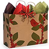 Red Bird Berries Paper Shopping Bags - Vogue Size - 16in. X 6in. X 12in. - 250 Pieces
