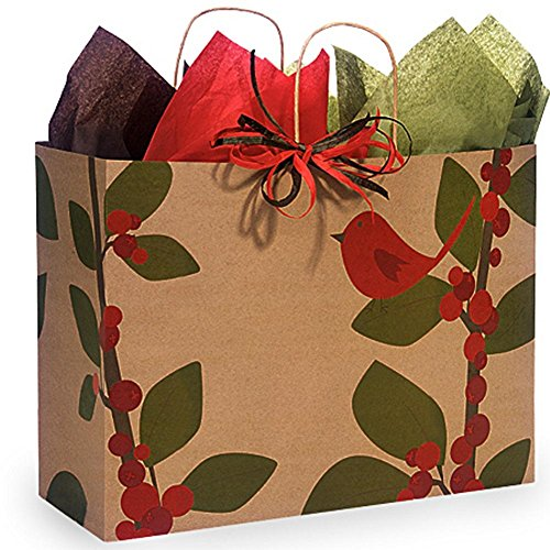 Red Bird Berries Paper Shopping Bags - Vogue Size - 16in. X 6in. X 12in. - 100 Pieces by NW