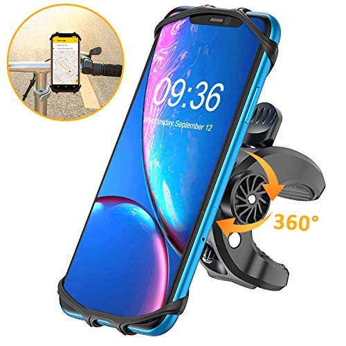 "Bovon Bike Phone Mount, 360°Rotation Universal Premium Silicone Phone Holder for Bicycle, Motorcycle Handlebars, Fits for iPhone Android Smartphones (4.5""-6.0"")"