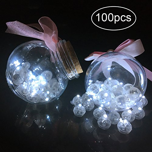 GYM HEROES 100pcs LED Balloon Light,Round Led Flash Ball Lamp for Paper Lantern Balloon Birthday Party Wedding Decoration (White)