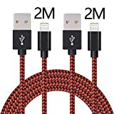 Lightning Cable,ONSON 2Pack 2m/6ft Long Nylon Braided Apple iPhone Charger Cable Charging Lead Cord USB Wire for iPhone 7/7 Plus/6S Plus/6 Plus/5/5S/5C/SE,iPad Pro/Air/mini,iPod(Black Red)