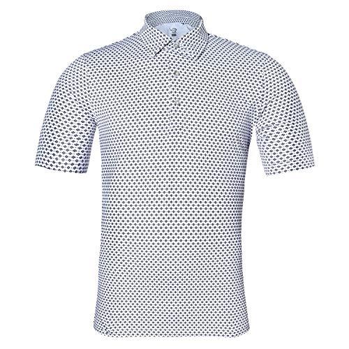 EAGEGOF Regular Fit Men's Shirt Stretch Tech Performance Golf Polo Shirt Short Sleeve 3XL Square Printing White