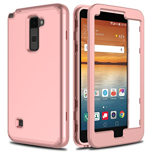 LG Stylo 2 Case, LG Stylo 2 V Case VS835 AMENQ Hybrid 3 in 1 Heavy Duty Scratch Resistant Touch Rubber Silicone Cover Without Built-in Screen Protector [Rose Gold] for LG G Stylo 2 L81AL / L82VL-Matte