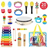 Samoleus Kids Musical Instruments, 20PCS Wooden Percussion Musical Instruments for Toddlers, Wooden Rhythm Band Set with Xylophone Tambourine Drums Toy for Baby Boys Girls Early Learning