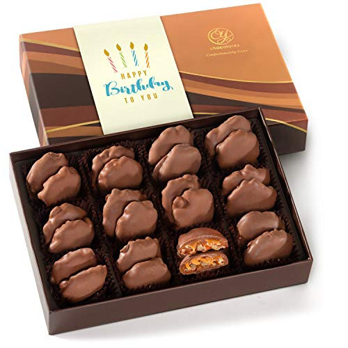CY Chocolates Happy Birthday 24 Milk Chocolate Caramel Pecan Clusters in Gift Box