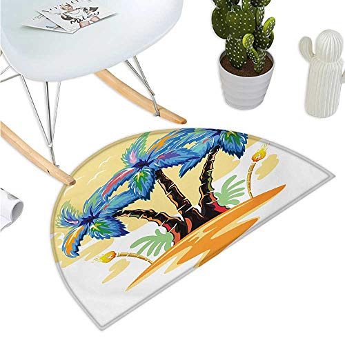 (Palm Tree Semicircular Cushion Colorful Cartoon Tropical Island with Hawaiian Palm Trees Torch Seagulls Sunset Halfmoon doormats H 23.6