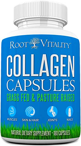 Collagen Pills - Collagen Capsules for Women & Men, Grass Fed, Collagen Supplements, Benefits Skin, Hair, Nails & Joints, Anti-Aging, Non-GMO, Collagen Peptides Pills, 180 Capsules