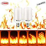 BetLight Flame Light Bulbs- E26 LED Flame Effect Light Bulb,Fire Flickering Lamp Bulb for Christmas/Outdoor Garden/Hotel/Bars/Home Decoration (2Packs, 3 Modes Flame Up)