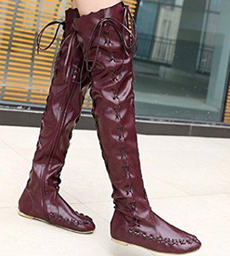 Genou Femme Haute Bottes Aisun Mode Violet Longues tIwg1dnaq