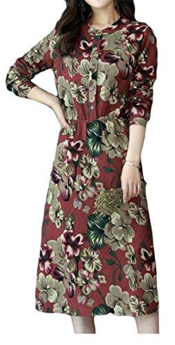 Bouton Cromoncent De Femmes Style Ethnique Floral Décontracté Balançoire Imprimé Robe Plissée Vin Rouge