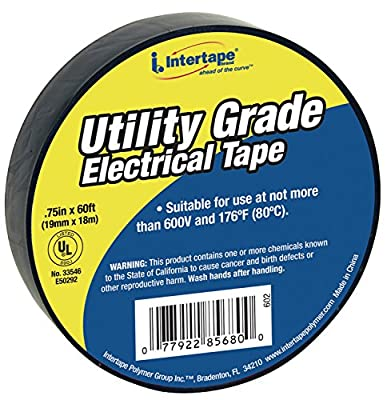 "Intertape Polymer Group 602 Black General Purpose Vinyl Electrical Tapes, 60"" Length x 0.75"" Width"