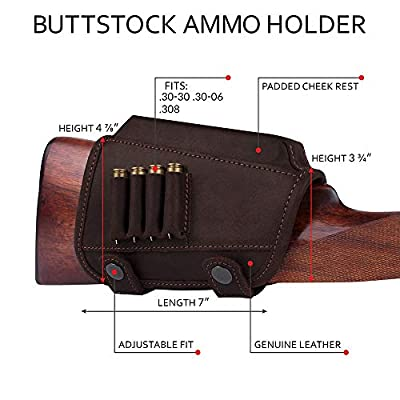 BronzeDog Buttstock Cheek Rest Ammo Holder Leather Rifle Pad Waterproof Hunting Accessories .30-30 .308 Caliber