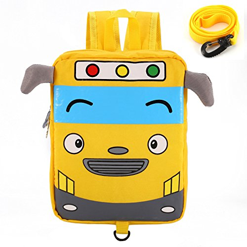 willikiva Little Cute Bus Mini Toddler Travel School Backpack for Kids Boys Girls to Preschool Waterproof Children with Safety Harness Leash Chest Strap -