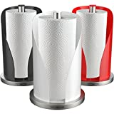 Vremi Vertical Paper Towel Holder for Kitchen Countertop - 12 Inch Decorative Paper Towel Dispenser with Stainless Steel Non Slip Base and Perfect Tear for Standard or Large Paper Towel Rolls - White