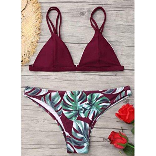 Bikini set Low Sexy Sommer sail Frau Set Trägerlosen Tropical Leaf Drucken Weinrot Rise Banana Rücken q7Cq4Hwrx