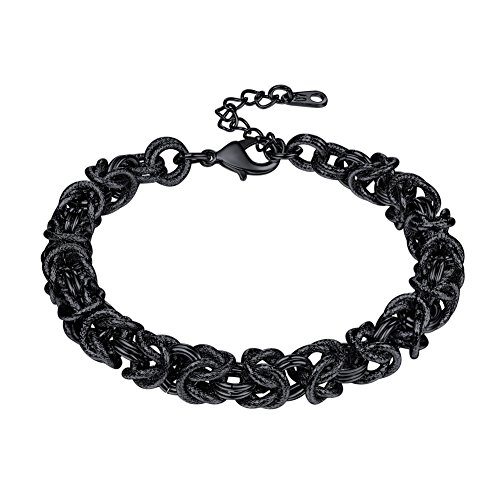 (U7 Chain Bracelet Black Gun Plated Double Oval Interlocking Link Byzantine Bracelets for Men and Women,7 Inches and 2 Inches Extension Chain)