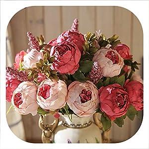 mamamoo 13 Branch/Bouquet Artificial Flowers Peony Vivid Flores artificiales Fake Silk Rose Bridal Wedding Decor Wreath Gland Home 89