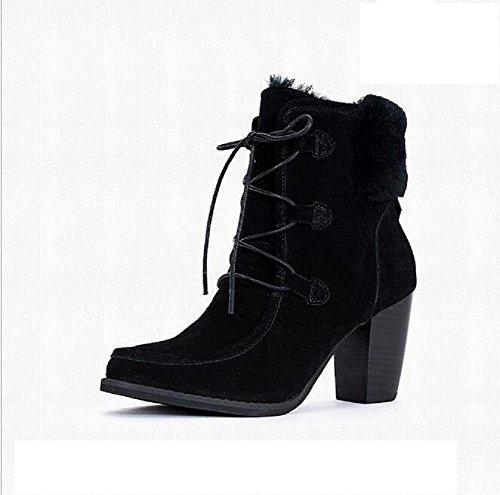 Botas para mujer Botas altas de tacón bajo para fregar el ganado de cuero apuntando botas superiores black