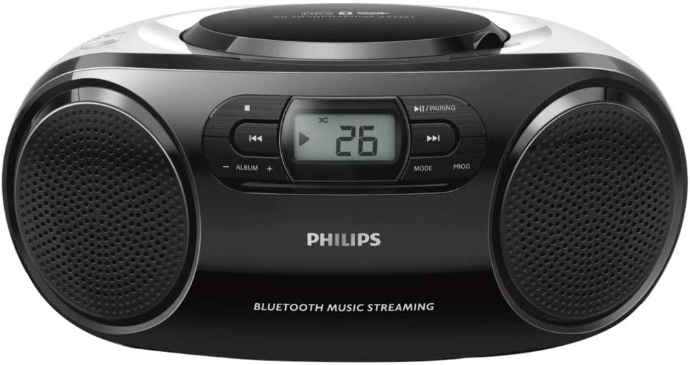 Philips Portable CD Player Boombox, Bluetooth Stereo Sound System, MP3, FM Radio, USB Input, Audio-in, and LCD Display