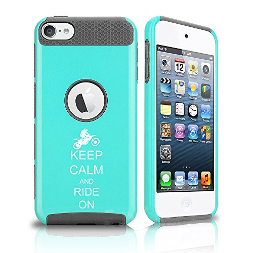 For Apple iPod Touch 5th / 6th Shockproof Impact Hard Soft Case Cover Keep Calm and Ride On Dirt MX Motocross Bike (Teal-Grey)