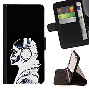 DEVIL CASE - FOR Apple Iphone 5 / 5S - Headphones Skeleton Art Bones Profile Portrait - Style PU Leather Case Wallet Flip Stand Flap Closure Cover