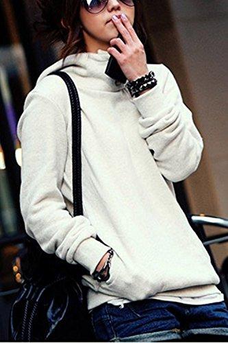 La Mujer Casual De Manga Larga Pullover Sudadera Con Capucha, Bolsillos Laterales De Cremallera Outwear Top White