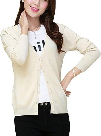 Femme Vintage Cardigan Basic Manches Longues Tricot Court Gilet