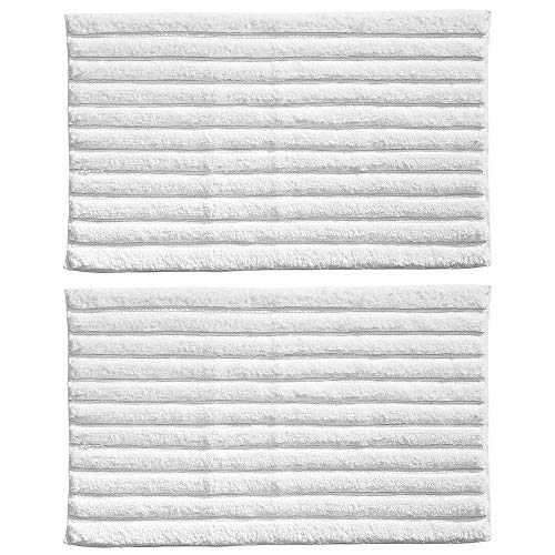 mDesign Soft 100% Cotton Luxury Hotel-Style Rectangular Spa Mat Rug, Plush Water Absorbent - Ribbed Design - for Bathroom Vanity, Bathtub/Shower, Machine Washable - 34 x 21 - 2 Pack - White