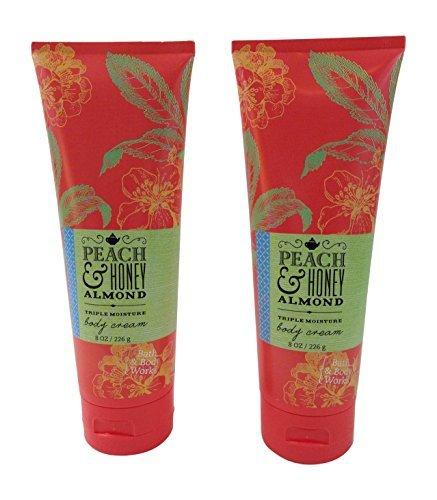 (Bath & Body Works Peach & Honey Almond Body Cream 8 Oz (2 Pack) )
