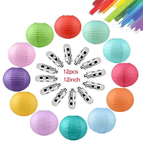 Paper Lanterns,12 Packs 12 Inch LED Colorful Round