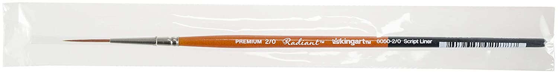 KINGART 6050-2//0 TAKLON Script Liner Paint Brush Black//Silver//Orange