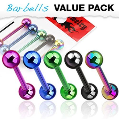 5pcs Color Titanium Anodized Barbells Tongue Rings 14G (Titanium Tongue Barbell)