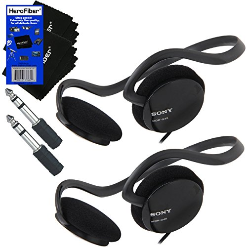 (Sony Behind-The-Neck Stereo Headphones with Powerful Bass + 3.5mm Mini Plug to 1/4 inch Headphone Adapter & HeroFiber Ultra Gentle Cleaning Cloth (2 Pack))