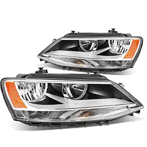 DNA Motoring Chrome amber HL-OH-VWJETTA11-CH-AM Headlight Assembly (Driver & Passenger Side)
