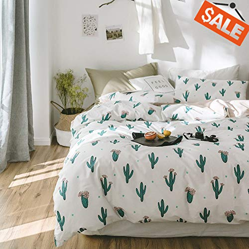 VCLIFE Lightweight 100% Cotton Duvet Cover Sets White Green Peach Reversible, Wave Bedding Sets Reversible Cactus Printing Quilt Cover Sets for Kid Teens Toddler, Luxurious, Bedding, Twin from VCLIFE