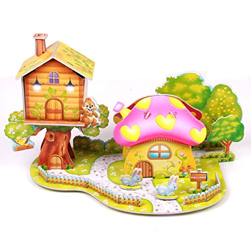 Mushroom Tree House 3D Puzzle Dollhouse, The Best DIY Gift for Children, Toys (Bridge End Garden)
