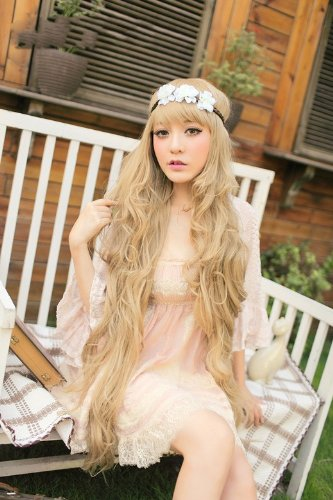 Easy To Do Celebrity Costumes (X&Y ANGEL New Godiva Super Long Lolita Full Natural Wavy Kanekalon Heat Resistant Hair Wig Blonde Wigs K056)