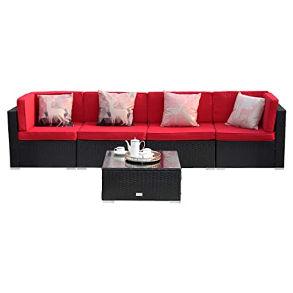Super Eclife Outdoor Rattan Sofa 5 Pcs Set Patio Pe Wicker Black Sofa Couch Furniture Set Removable Cushions W 4 Pillows W Tea Table 5Pcs Red Without Uwap Interior Chair Design Uwaporg
