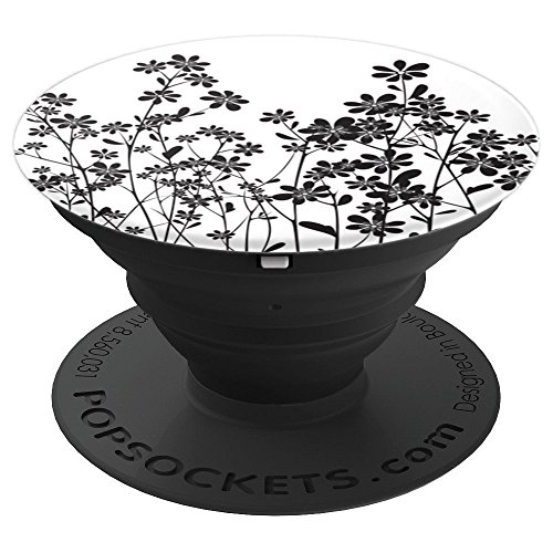 Flower Plants Growing Black And White For Back To School - PopSockets Grip and Stand for Phones and Tablets (Plant Growing Stand)